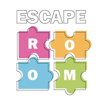 Stanza di fuga. poster di illustrazione vettoriale, banner su sfondo bianco puzzle pezzi colorati