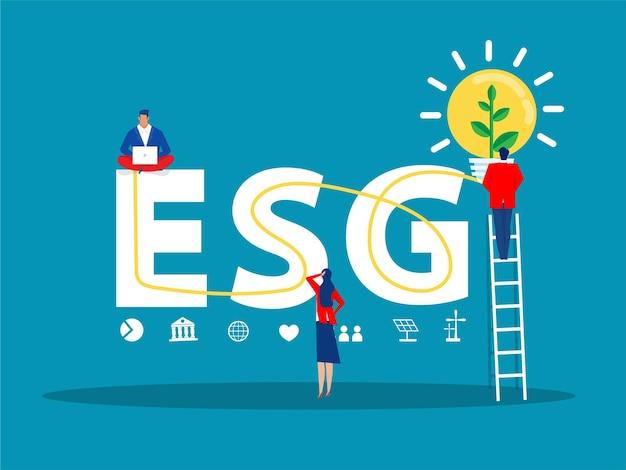 Esg o concetto di problema ecologico, la crescita della piantina del leader dell'uomo d'affari investe l'illustratore di vettore del concetto