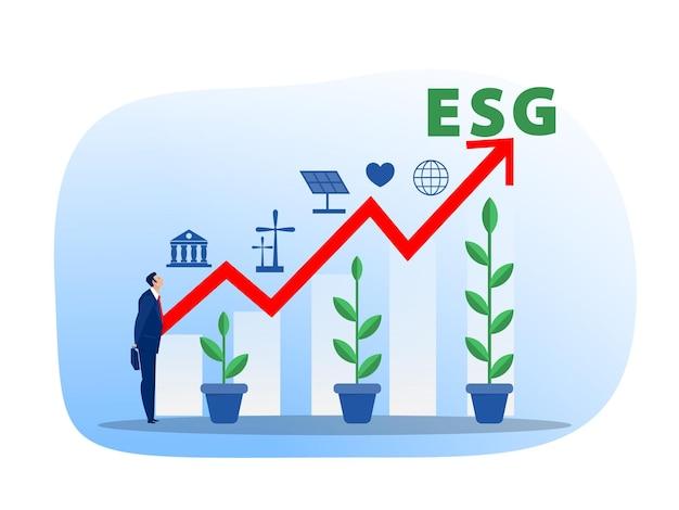 Esg o concetto di problema di ecologia uomo d'affari leader che innaffia la crescita delle piantine investire