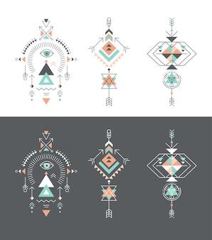 Esoterico, alchimia, geometria sacra, elementi tribali e aztechi