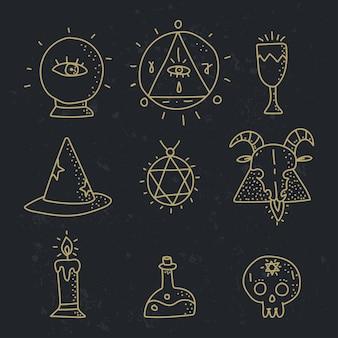 Insieme di vettore di elementi di doodle esoterico isolato su uno sfondo nero.
