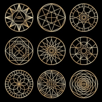 Pentagrammi geometrici esoterici. simboli mistici sacri spirituali