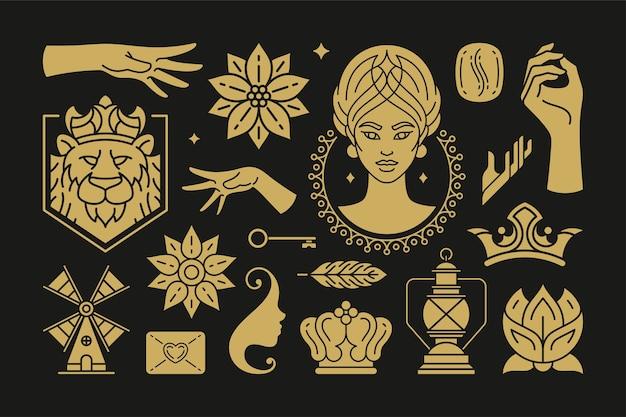 Magia esoterica e elementi di design strega impostati con gesti delle mani femminili