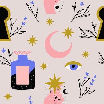 Motivo mistico esoterico con occhi di luna e stelle