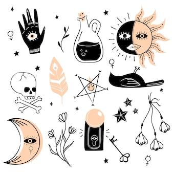 Concetto di elementi mistici esoterici