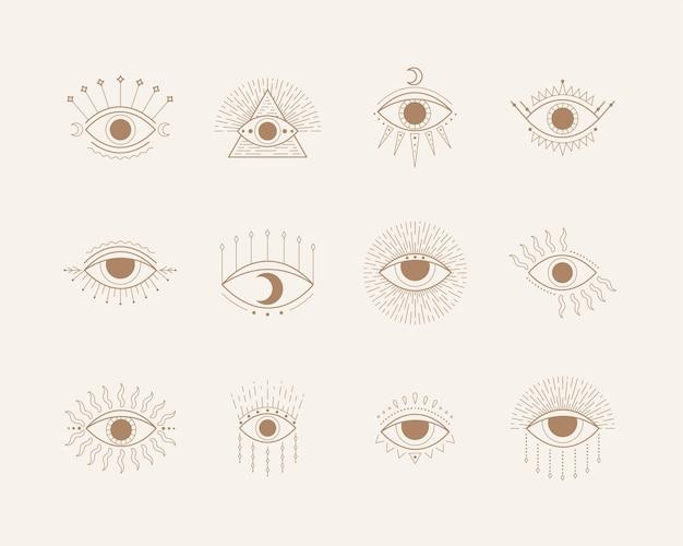 Simboli esoterici con gli occhi. illustrazione in stile boho