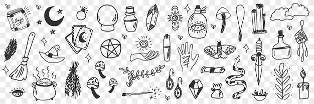 Attributi di stregoneria esoterica scarabocchio illustrazione stabilita