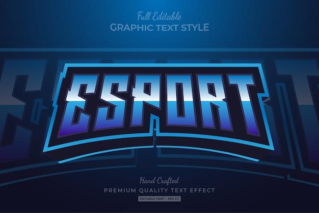 Effetto stile testo premium modificabile blu esport