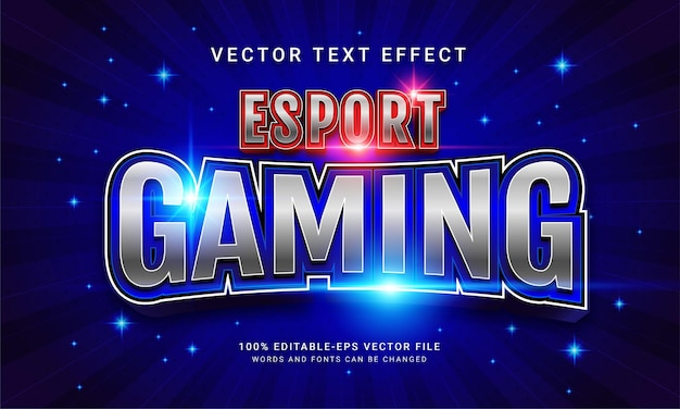 Effetto di testo modificabile di gioco esport con colore blu