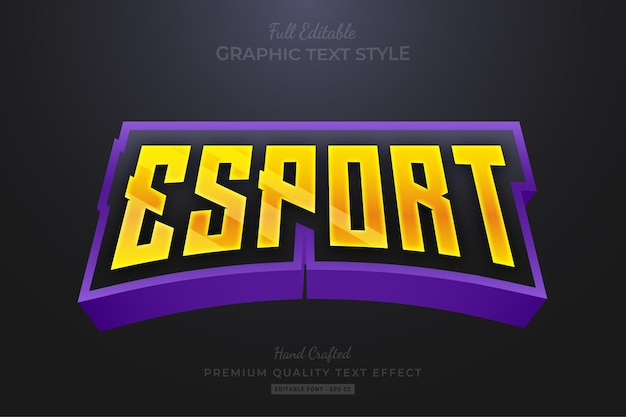 Esport gaming team strip modifica stile carattere effetto testo