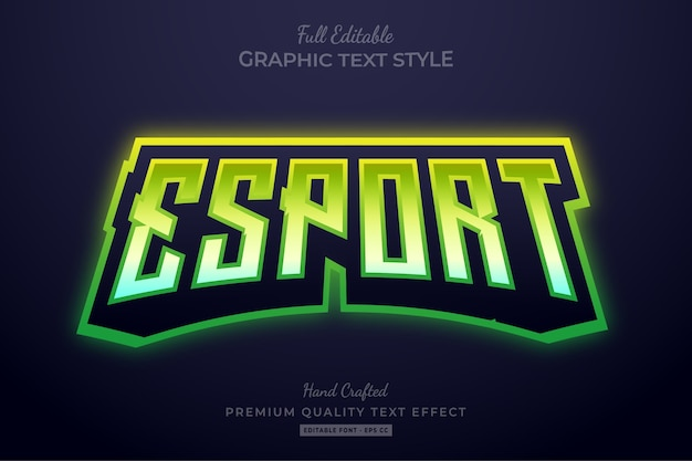 Esport gradient green editable text effect font style