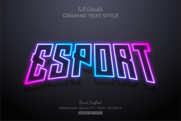 Effetto stile testo modificabile al neon sfumato esport premium