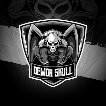 Logo esport icona personaggio teschio demone