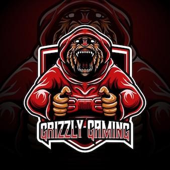 Personaggio di gioco grizzly logo esport