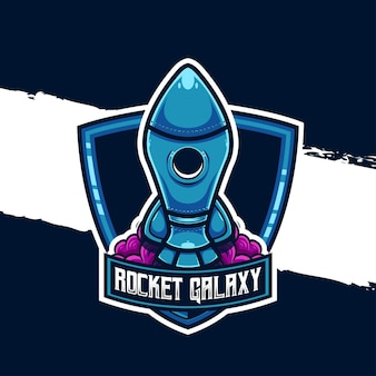 Illustrazione del logo esport icona del personaggio del razzo