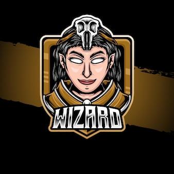 Personaggio del mago dell'illustrazione del logo esport