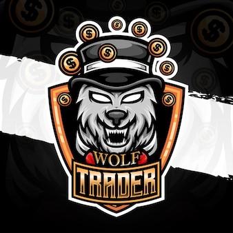 Illustrazione logo esport icona personaggio commerciante lupo