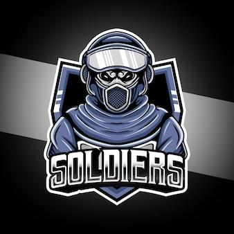 Personaggio di soldati logo esport