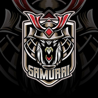 Esport logo whit head hawk samurai caracter icon