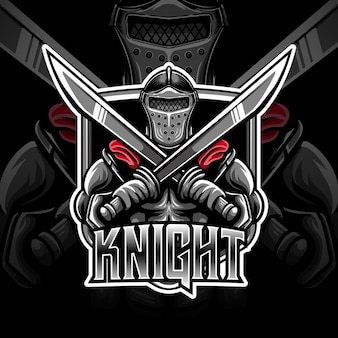 Esport logo whit knight caracter icon