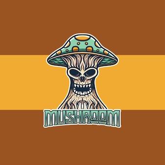 Esport logo con personaggio di mostri di funghi