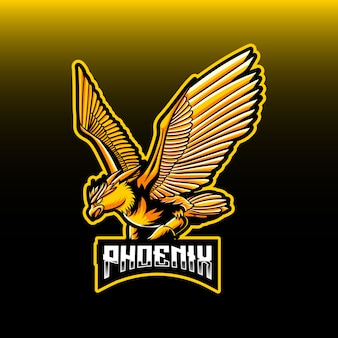 Esport logo whit phoenix character icon