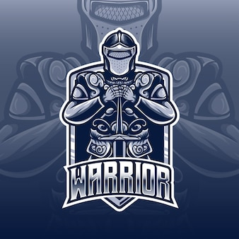 Esport logo whit warrior caracter icon