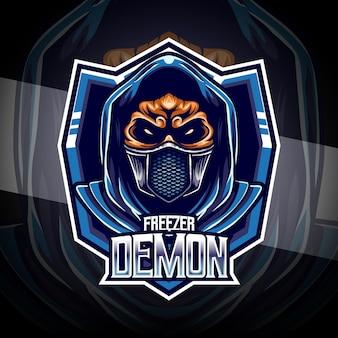 Logo esport con personaggio demone congelatore
