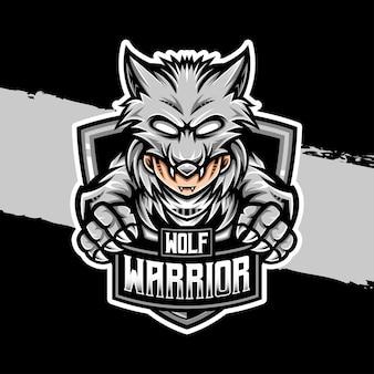 Logo esport icona personaggio guerriero lupo