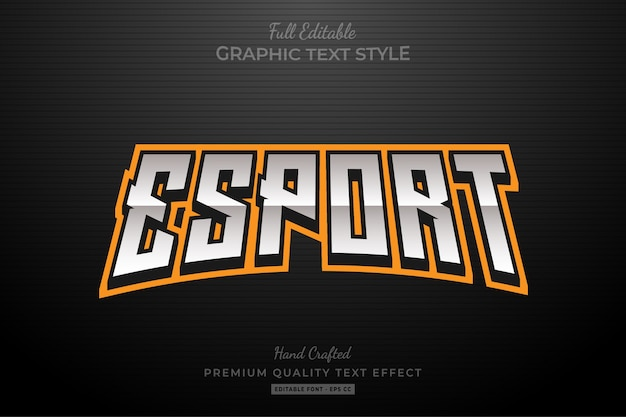 Effetto stile testo modificabile arancione esport