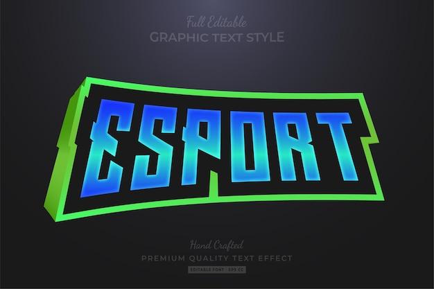 Esport team 3d modificabile stile carattere effetto testo