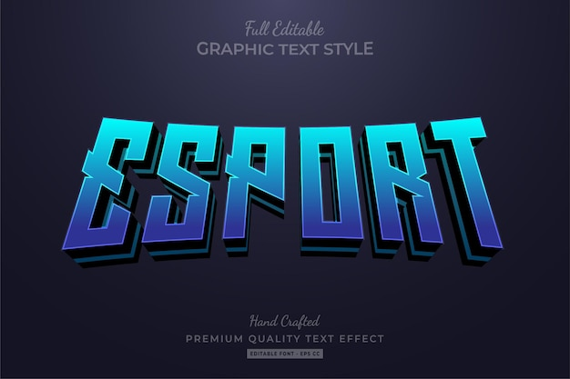 Esport team blue modificabile stile carattere effetto testo
