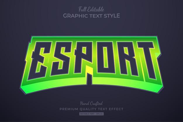 Esport team green modificabile stile carattere effetto testo