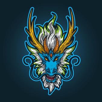 Logo della mascotte di esports, mascotte del drago dell'illustrazione
