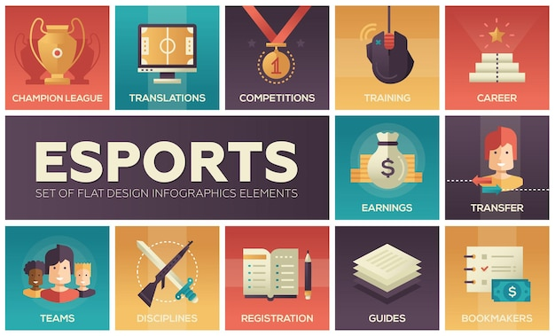 Esports - set di icone del design piatto moderno di vettore. notizie, registrazione giocatori, feste, guide, allenamenti, trasferimenti, guadagni, competizioni, campioni, bookmaker, sponsor