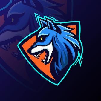 Logo della squadra della mascotte del lupo di esports