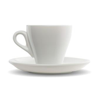 Tazza di caffè espresso con manico in bianco di vettore.
