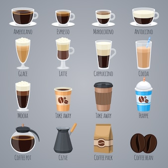 Caffè espresso, latte, cappuccino in bicchieri e tazze. tipi di caffè per il menu della caffetteria.