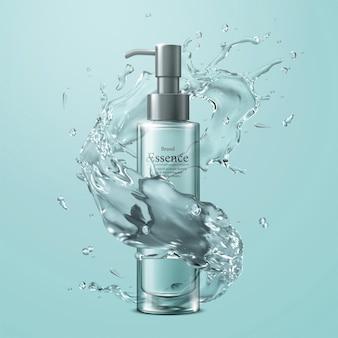 Bottiglia della pompa dell'essenza con effetto di spruzzi d'acqua su sfondo turchese in illustrazione 3d