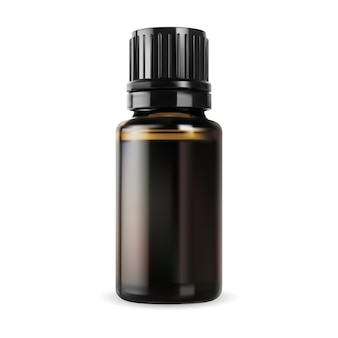 Bottiglia di olio essenziale flaconcino di vetro marrone piccolo contenitore vettoriale confezione realistica ambrata lucida