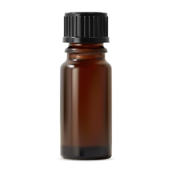 Bottiglia di olio essenziale mockup vettoriale di contenitore di vetro per olio cosmetico