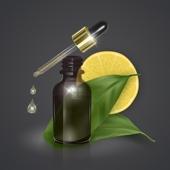 Olio essenziale con limone, vitamina c, illustrazione 3d realistica. siero idratante con estratto di limone.