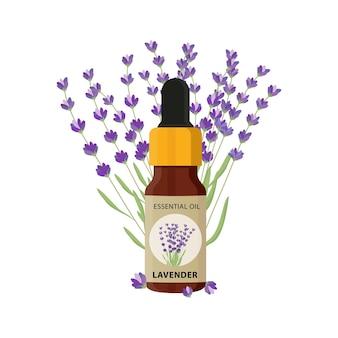 Bottiglia di oli essenziali con modello di illustrazione vettoriale di fiori di lavanda