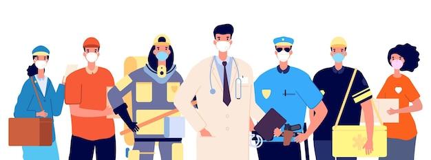 Lavoratori essenziali e frontline. servizio di consegna medico poliziotto pompiere e volontario in maschere protettive. i professionisti piatti isolati hanno lavorato all'illustrazione vettoriale del tempo di pandemia del virus