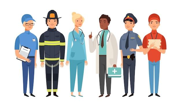 Lavoratori essenziali. gruppo di frontliner isolato, persone che lavorano sulla pandemia di virus. set vettoriale di dottore poliziotto pompiere postino fattorino