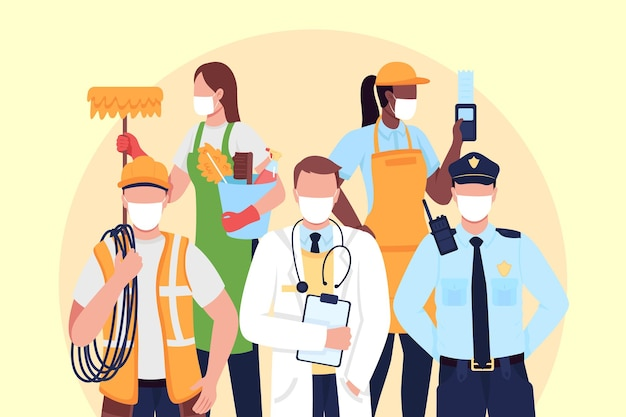 Illustrazione piana di vettore di concetto dei lavoratori di elementi essenziali. corriere, medico in maschera medica. frontliner personaggi dei cartoni animati 2d per il web design. personale chiave durante l'idea creativa della pandemia di coronavirus