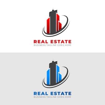 Progettazione del modello di logo della costruzione della proprietà con le forme