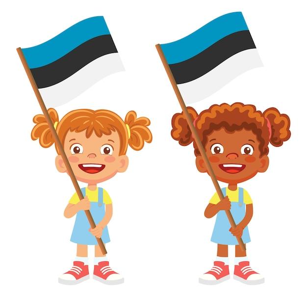 Bandiera dell'estonia in mano. bambini che tengono bandiera. vettore di bandiera nazionale dell'estonia