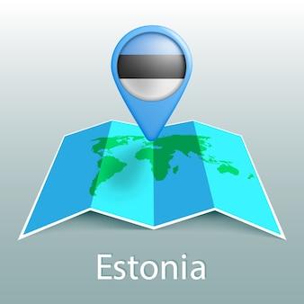 Estonia bandiera mappa del mondo nel pin con il nome del paese su sfondo grigio