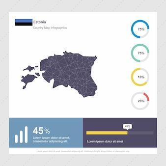 Modello di estonia mappa e bandiera infografica